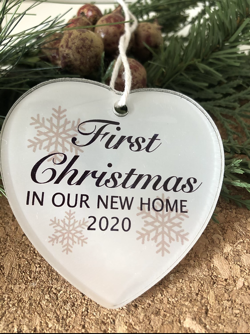 First Christmas Personalised Acrylic Heart Decoration