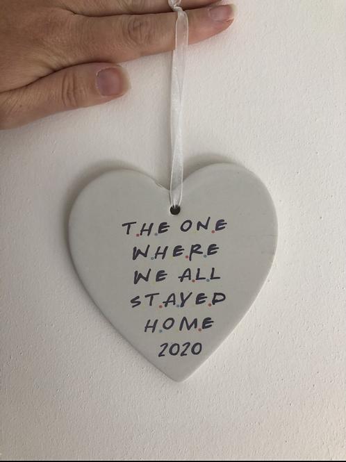 Friends theme ceramic heart decoration
