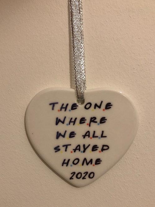 Friends theme ceramic heart decoration glazed