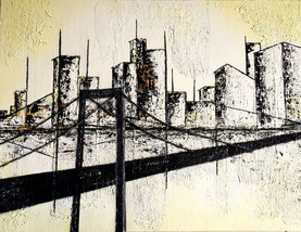 Teer-City | 2015 | Mischtechnik in Acryl, Bitumen und Asche | 60x80cm