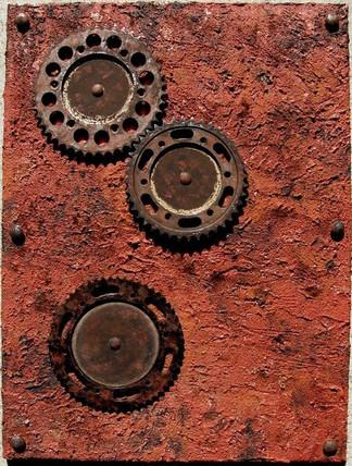 Der Zahn der Zeit | 2011 | Collage mit Metallzahnrädern | 60 x 80 cm