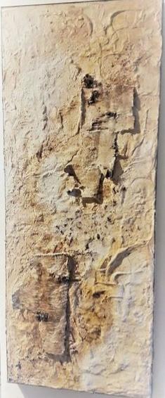 o.T. |  2018 | Collage mit Birkenrinde, Marmormehl, Sand und Asche | 40x100cm