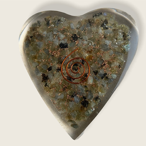 Orgonite Heart - Labradorite (7.5 x 8cm approx)