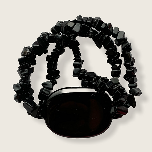 Bracelet - Obsidian stone & chips