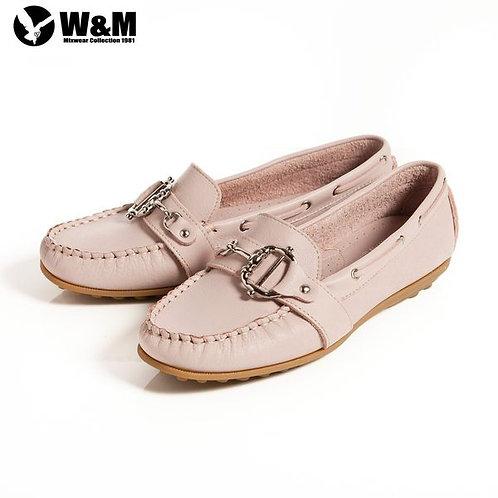 米蘭皮鞋 2014春夏新品 W&M 金屬釦環豆豆鞋莫卡辛鞋女鞋 粉(另有藍)