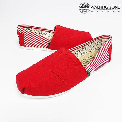 WALKING ZONE 條紋側邊 悠閒步伐輕巧國民便鞋女鞋-紅(另有米、黑、藍)