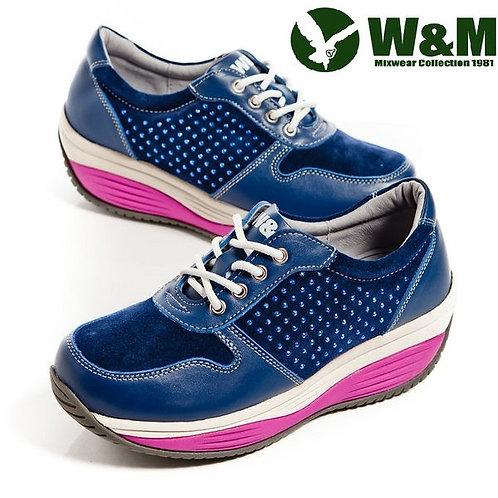 W&M FIT 城市健走族透氣健塑鞋貼鑽綁帶心型底女鞋-藍(另有粉)