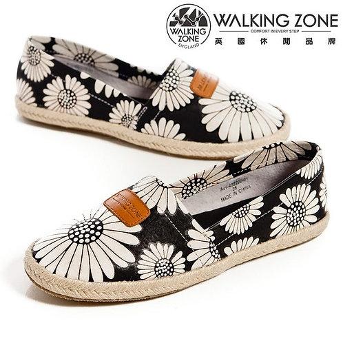 WALKING ZONE 微笑花朵麻繩底樂福鞋女鞋-黑(另有紅、黃)