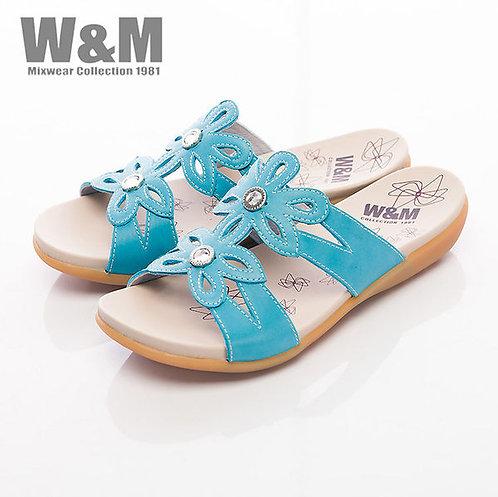 米蘭皮鞋W&M 鑽飾花造型淑女拖鞋女鞋-藍