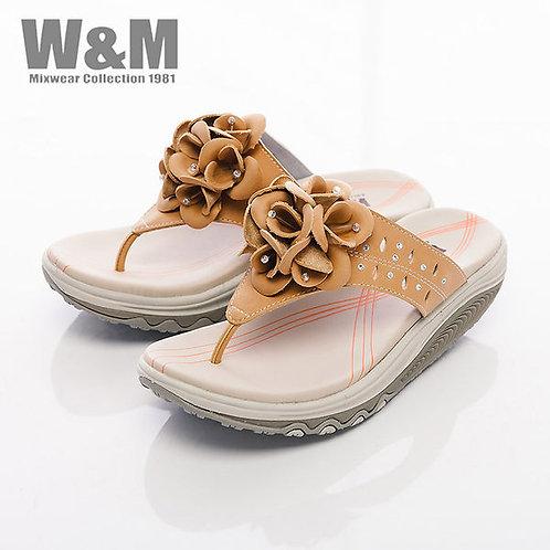 米蘭皮鞋W&M 2014 FIT 鑽飾花造型健走族健塑鞋拖鞋女鞋-黃(另有紫)