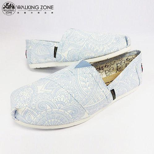 WALKING ZONE 藝術變形蟲圖騰 輕巧國民便鞋女鞋-藍(另有粉)