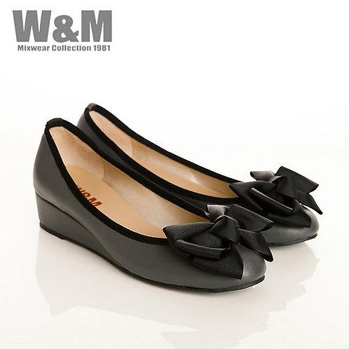 W&M 真皮緞帶蝴蝶結船型鞋楔型女鞋女鞋-灰(另有粉)