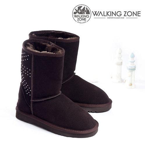米蘭* 【WALKING ZONE】麂皮水鑽絨毛內裡雪靴 咖