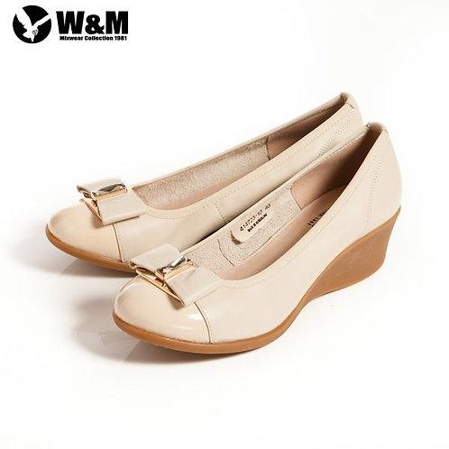 米蘭皮鞋 2014 W&M 時尚風大方白鑽蝴蝶結包頭OL中跟楔型鞋 米(另有黑)