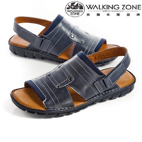 WALKING ZONE镂空露趾沙灘軟底休閑涼鞋/拖鞋兩用 藍(另有棕)