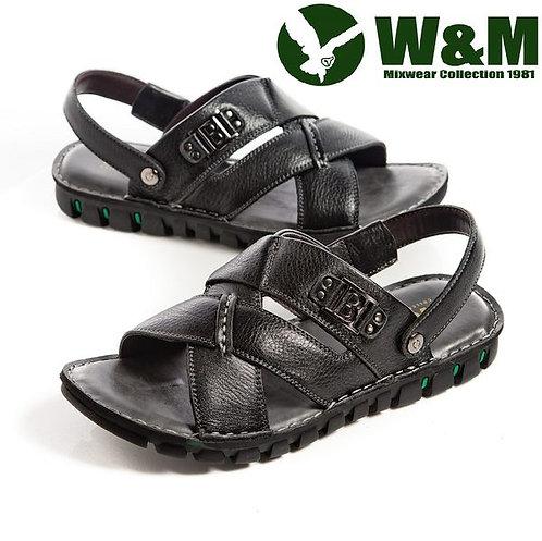 【W&M】 寬帶交叉防滑軟墊兩用涼拖鞋男鞋 黑(另有咖)