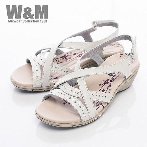 米蘭皮鞋W&M 百搭交叉鞋帶魔鬼粘涼鞋女鞋-白(另有紫)