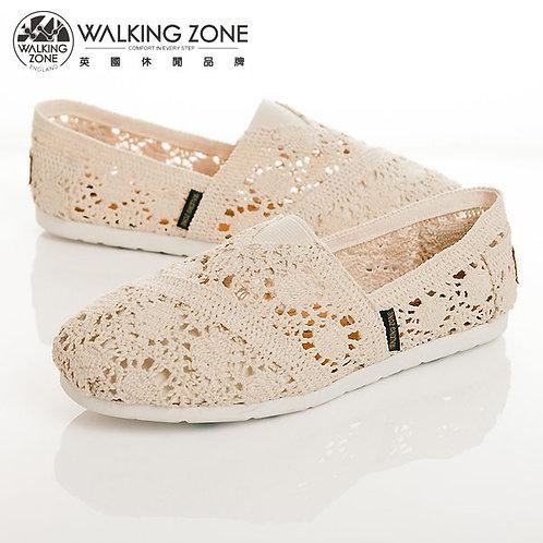 WALKING ZONE 鏤空編織蕾絲樂福鞋女鞋-米(另有黑)