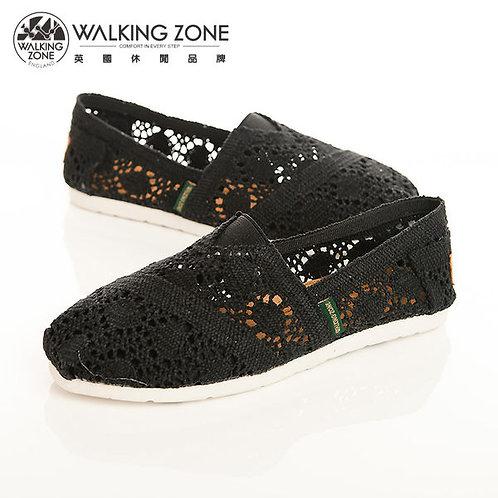 WALKING ZONE 鏤空編織蕾絲樂福鞋女鞋-黑(另有米)