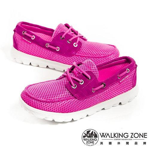 米蘭~WALKING ZONE 皮革穿繩透氣懶人鞋女鞋-桃(另有綠、水藍)
