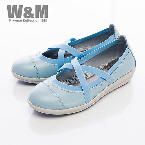 米蘭皮鞋W&M 交叉鬆緊帶娃娃鞋平底女鞋-藍(另有白)