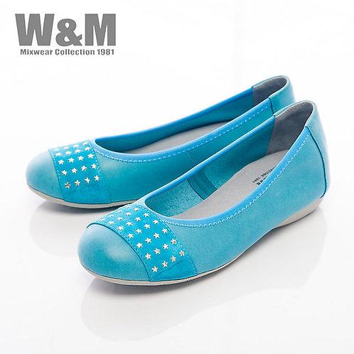 米蘭皮鞋W&M 4排星星銀片娃娃鞋平底女鞋-藍(另有黑)