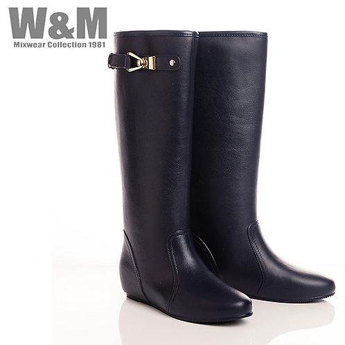 W&M 精緻金屬釦飾內增高女長筒雨靴-深藍(另有黑)