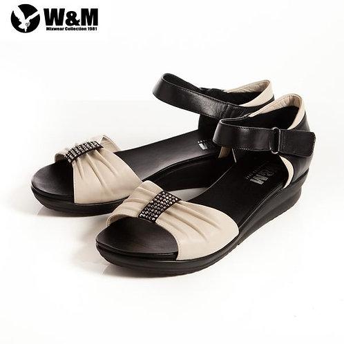 2014春夏W&M 耀眼亮鑽 魔鬼氈淑女中低跟平底涼鞋 米(另有黑、桃)
