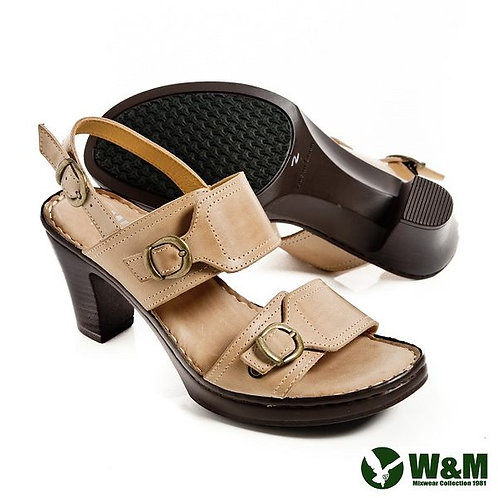 W&M 日系一字寬帶繫跟厚底粗跟涼鞋-米