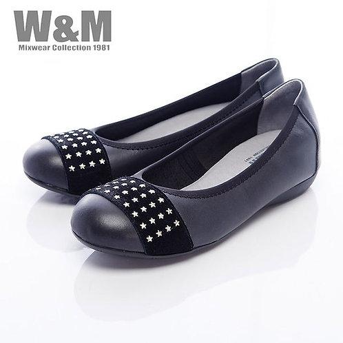米蘭皮鞋W&M 4排星星銀片娃娃鞋平底女鞋-黑(另有藍)