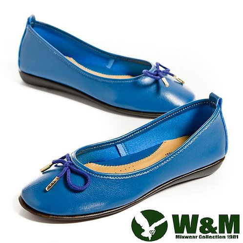 W&M 日系甜美蝴蝶結造型平底娃娃鞋-藍(另有咖)