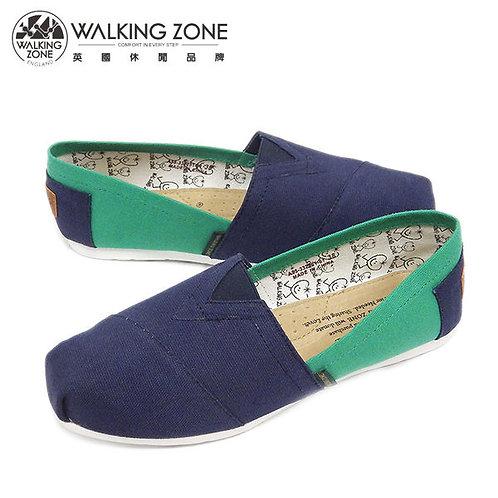 WALKING ZONE 悠閒步伐輕巧國民便鞋女鞋-藍(另有橘、綠、灰、粉)