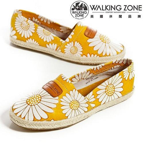 WALKING ZONE 微笑花朵麻繩底樂福鞋女鞋-黃(另有紅、黑)