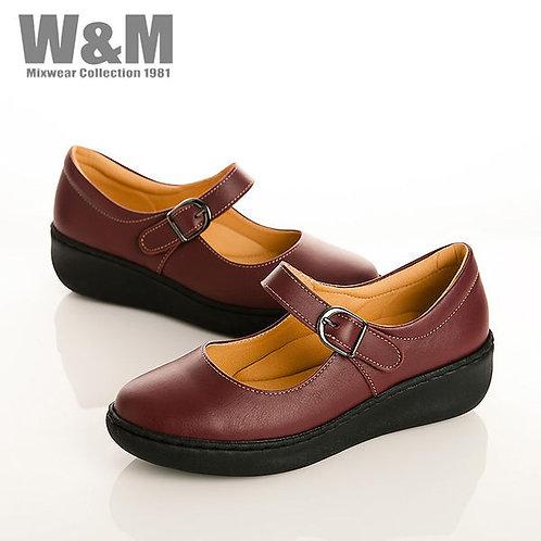 W&M 真皮舒適耐走淑女厚底休閒女鞋-暗紅(另有黑)