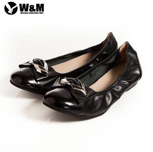 米蘭皮鞋 2014 W&M 可愛菱形金屬片蝴蝶結 優雅時尚好穿搭柔軟平底鞋 黑(另有銀)