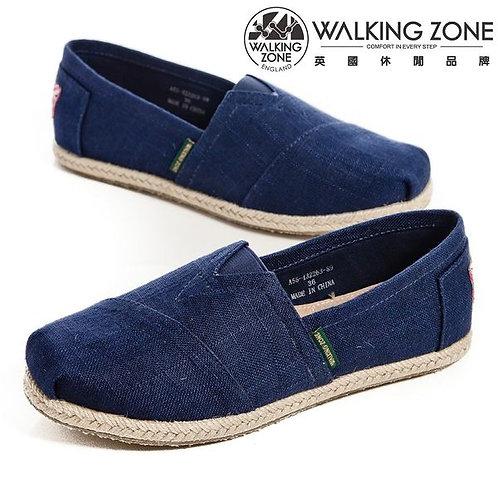 WALKING ZONE 斜車素面編織風樂福鞋女鞋-深藍(另有紫、米)