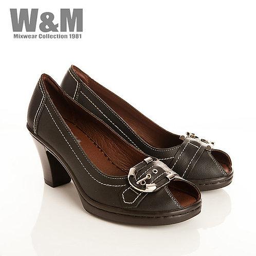 W&M 真皮皮帶造型魚口鞋女高跟鞋-黑(另有紫)