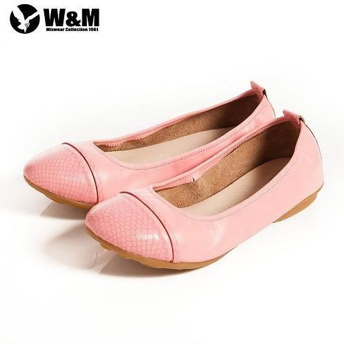 W&M 2014春夏 菱格包頭 柔軟舒適好穿搭娃娃鞋 桃(另有黃、黑)