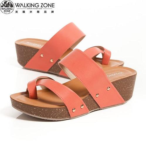 2014 WALKING ZONE 夏季潮流寬帶 厚底曲線夾腳拖鞋-紅(另有駱駝)