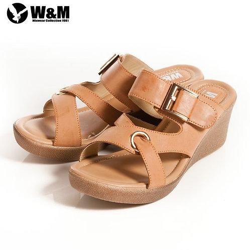 2014春夏新品 W&M 優雅舒適金屬環 交叉透氣涼鞋楔型鞋 土黃(另有紅)