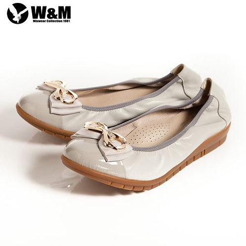 2014春夏新品 W&M 俏皮時尚耀眼 金屬迴紋帶雙層蝴蝶結柔軟女鞋 灰(另有黑)