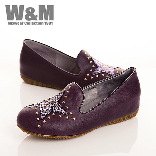 W&M 大星星鉚釘真皮休閒鞋女鞋-紫(另有卡其)