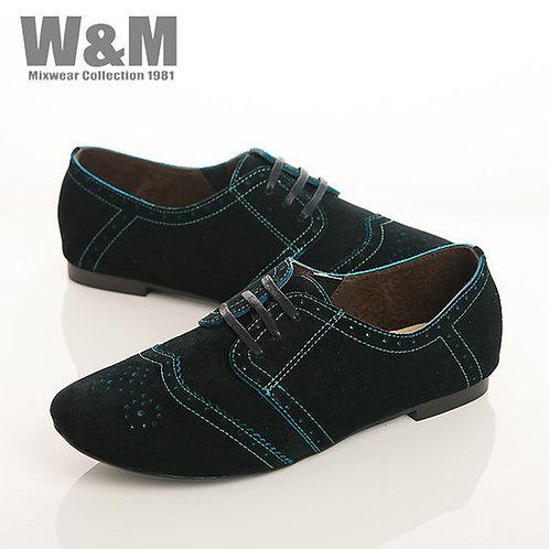 W&M 真皮麂皮綁帶沖孔休閒女鞋-黑(另有咖、紅)