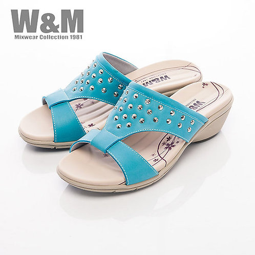 米蘭皮鞋W&M 圓錐鉚釘造型淑女拖鞋女鞋-藍(另有橘)