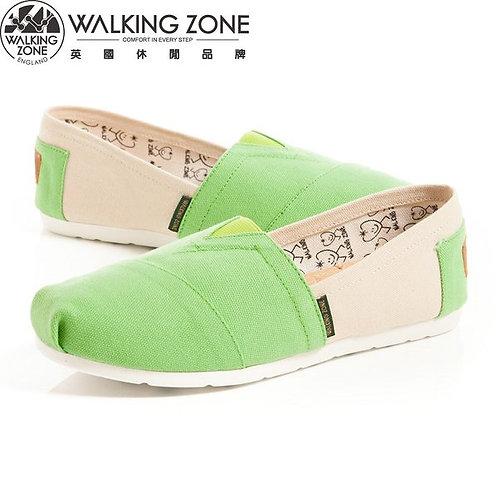 WALKING ZONE 悠閒步伐輕巧國民便鞋女鞋-綠亮(另有紅、藍綠)