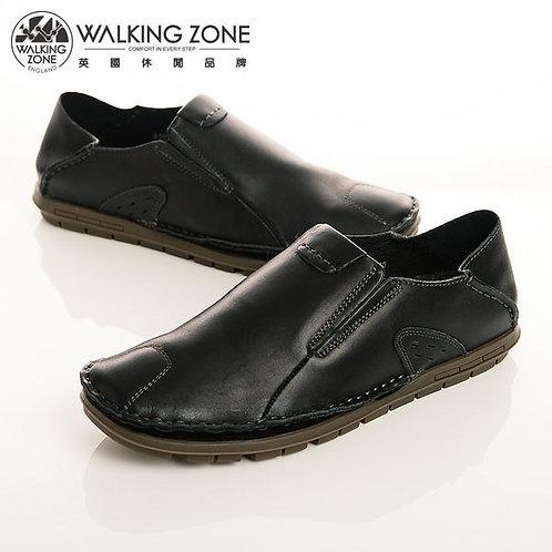 WALKING ZONE 英倫真皮自然風格休閒鞋男鞋-黑(另有咖、棕)