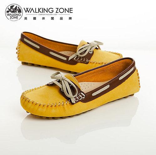 WALKING ZONE 蝴蝶結穿繩豆豆鞋莫卡辛鞋女鞋-黃(另有紅、粉、咖)