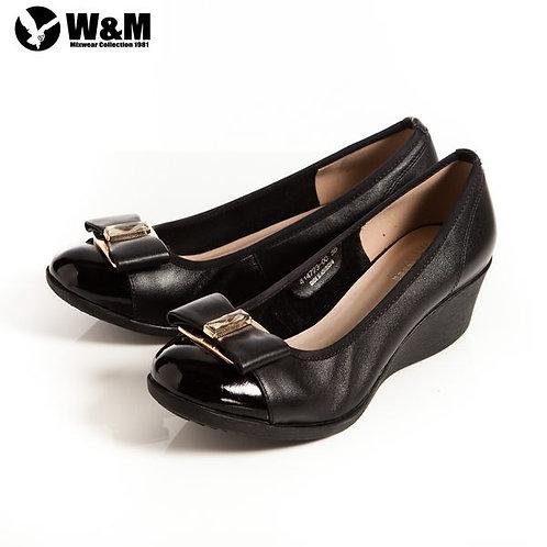 米蘭皮鞋 2014 W&M 時尚風大方白鑽蝴蝶結包頭OL中跟楔型鞋 黑(另有米)