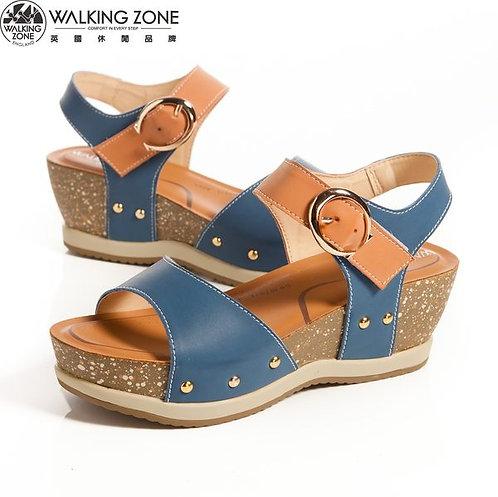 2014春夏 WALKING ZONE 金屬釦環配色 厚底曲線涼鞋-藍(另有紅)