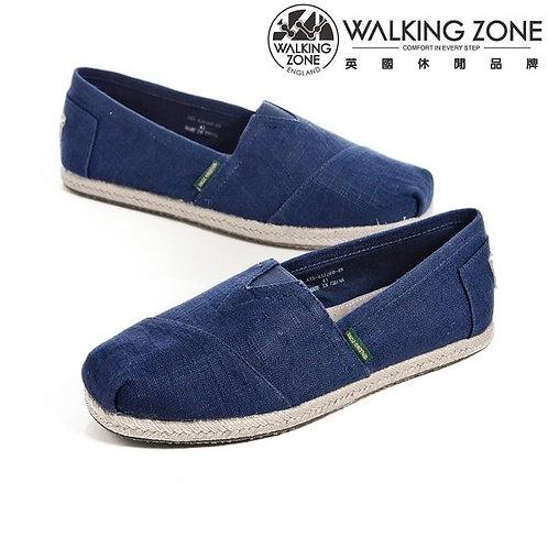 WALKING ZONE 斜車素面編織風樂福鞋男鞋-深藍(另有灰)